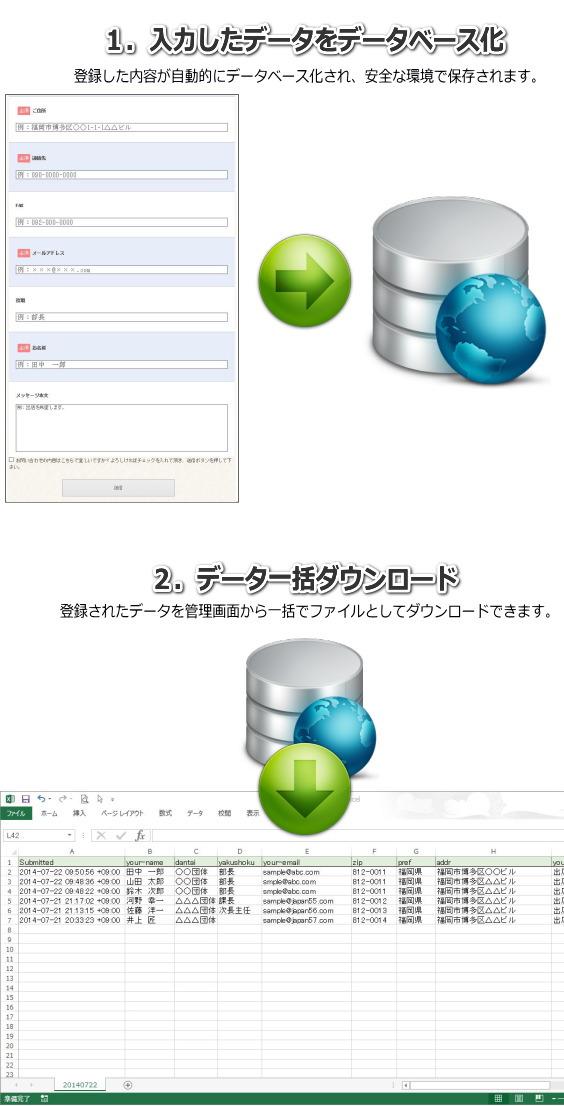 メールフォーム,データベース